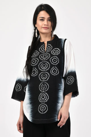 Black Bandhej Cotton Top