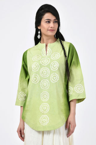 Green Bandhej Cotton Top