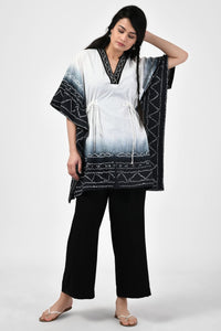 Black and White Bandhej Cotton Kaftan