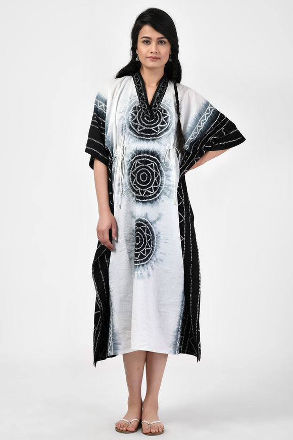 Black and White Bandhej Cotton Long Kaftan
