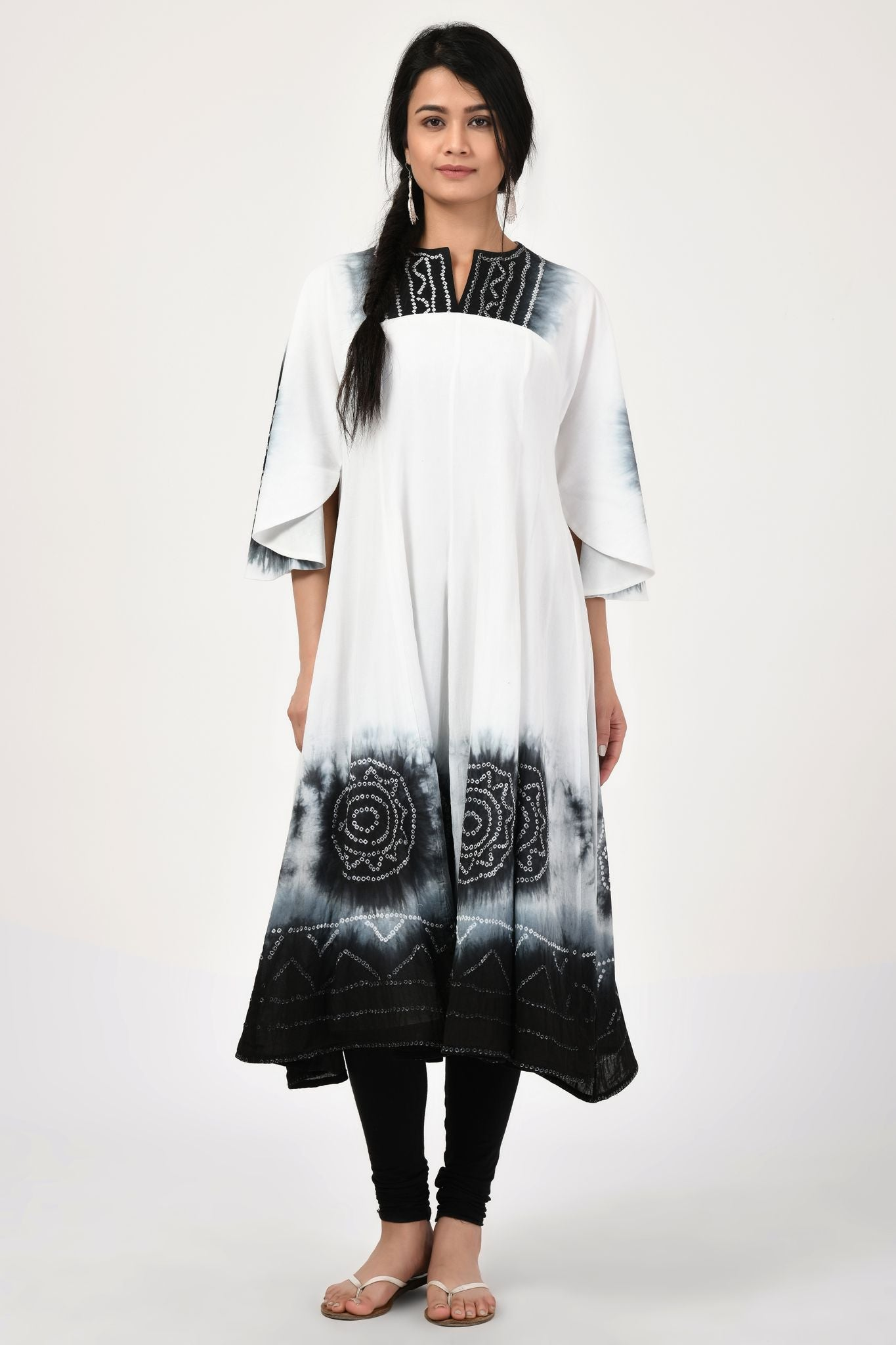 Tie-Dye Black and White Anarkali