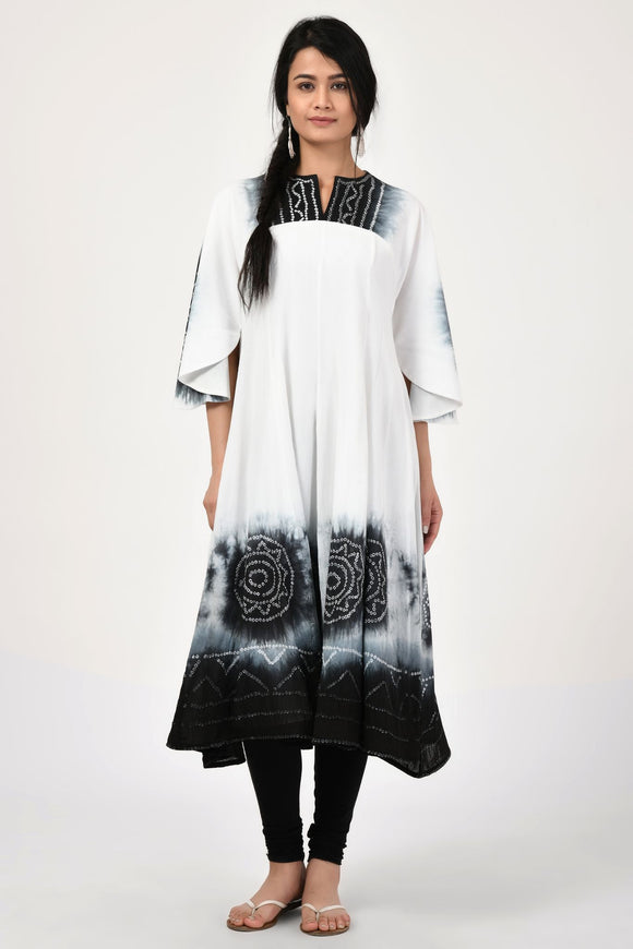 Bandhej Black and White Cotton Anarkali