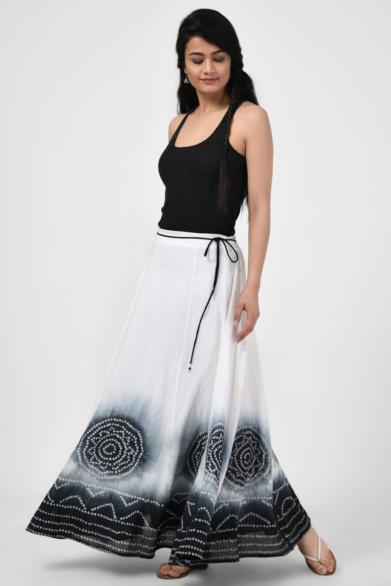 Tie & Dye Black & White Long Skirt
