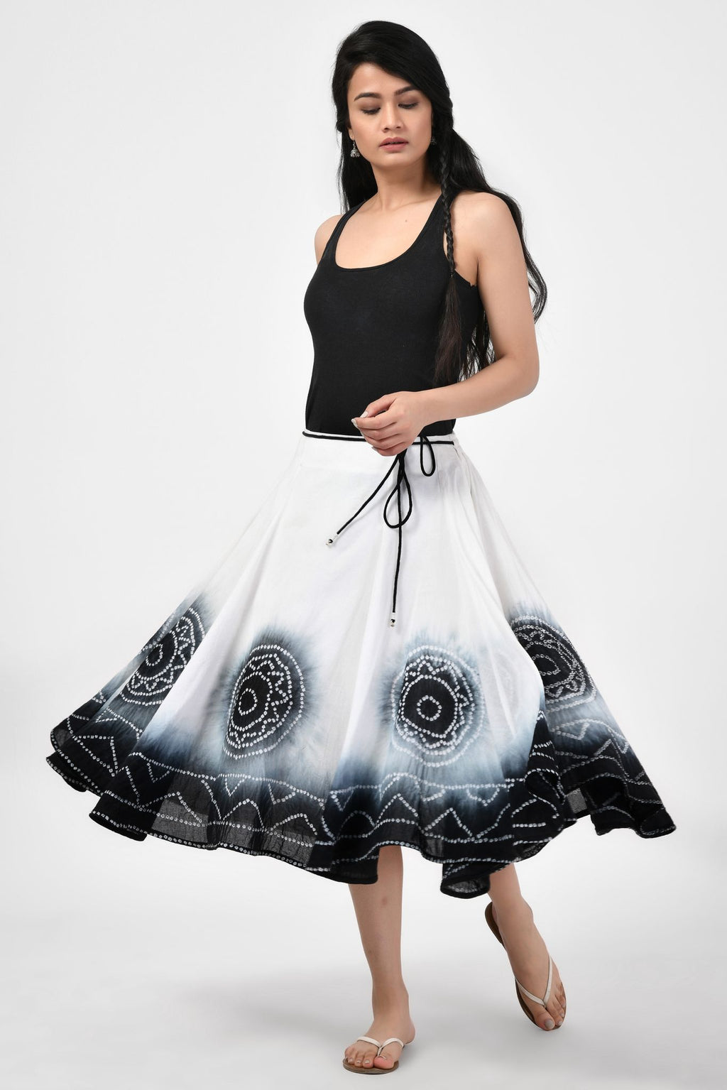 Tie & Dye Black & White Medium Length Skirt