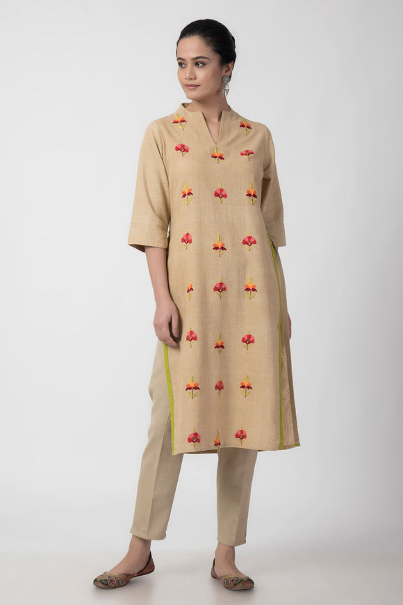Beige Kashmiri Embroidered Woven Long Kurta