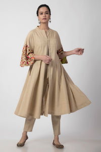 Beige Kashmiri Embroidered Woven Anarkali Long Jacket