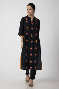 Black Kashmiri Embroidered Woven Long Kurta