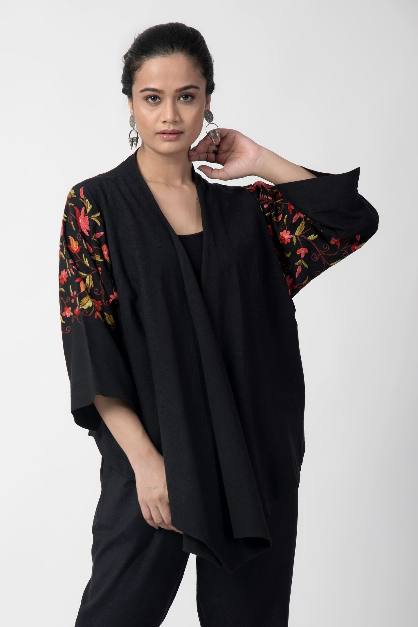 Black Kashmiri Embroidered Woven Overlay Jacket