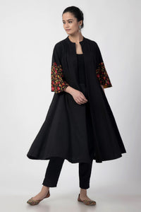 Black Kashmiri Embroidered Woven Anarkali Long Jacket
