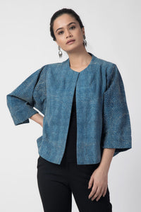 Indigo Kantha Cotton Short Jacket