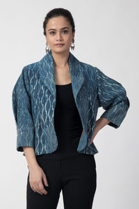 Indigo Kantha Shawl Collar Jacket