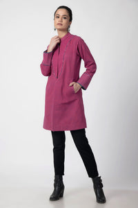 Pink Kantha Long Jacket