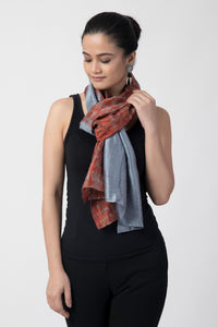 Rust & Blue Shibori Pure Silk Stole