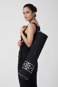 Black Extra Weft Woven Yoga Bag