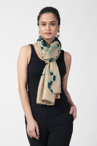 Beige Diamond Tye Dye Pure Silk Stole