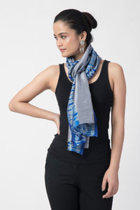Grey & Blue Shibori Pure Silk Stole