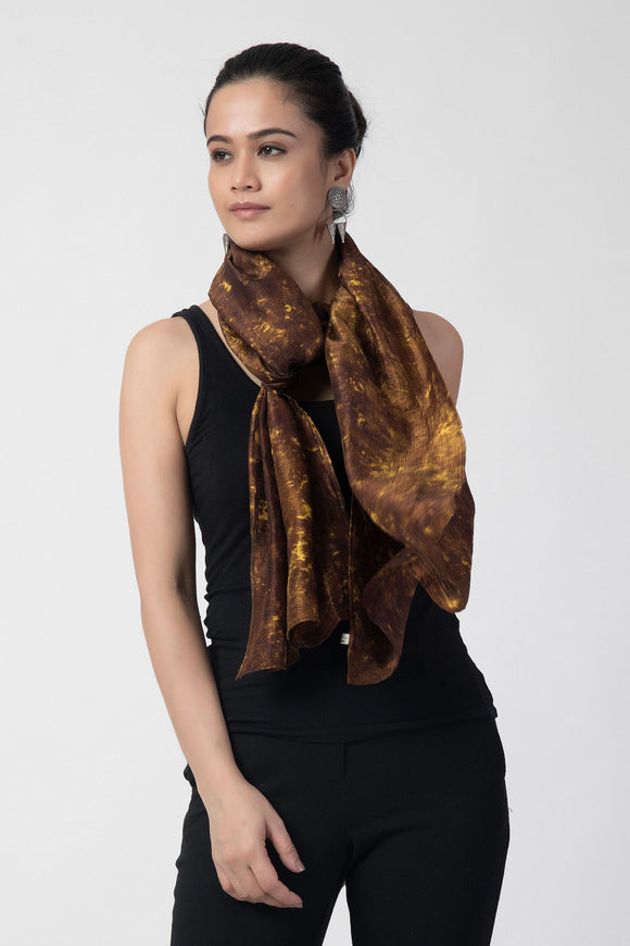 Brown Marbel Effect Pure Silk Stole
