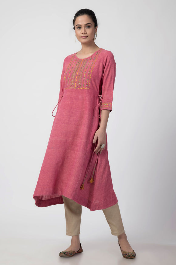 Pink Soof Embroidered Woven A-line Kurta