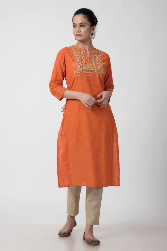 Orange Mirror Embroiderd Woven Long Kurta
