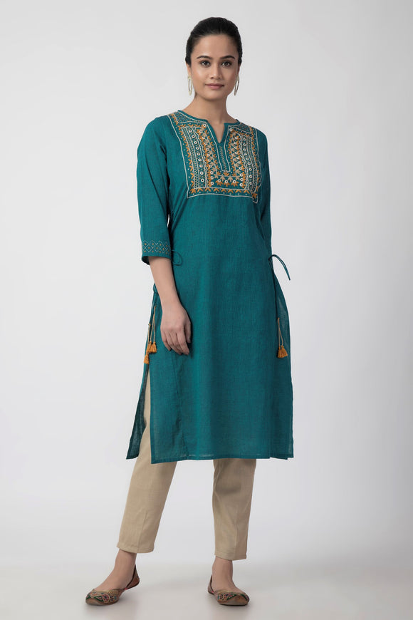 Teal Blue Mirror Embroiderd Woven Long Kurta