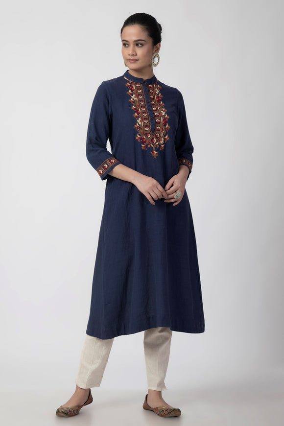 Dark Blue Banjara Embroidered Woven A-line Kurta