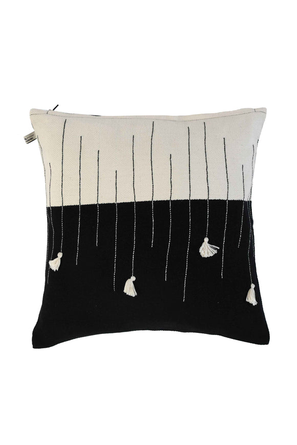 Black & White Tassel Hand Woven Cushion Cover