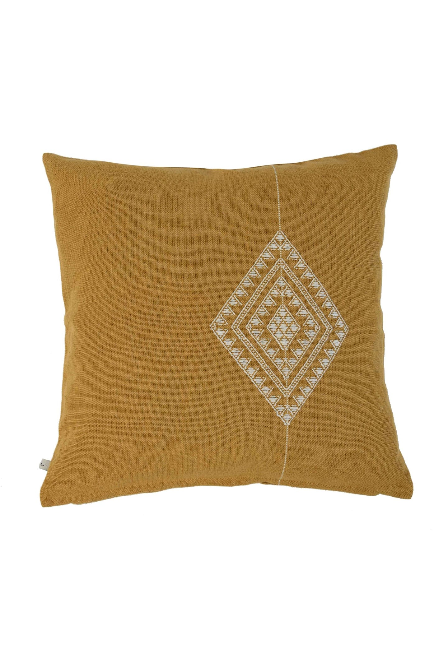 Mustard Yellow Diamond Extra Weft Hand Woven Cushion Cover
