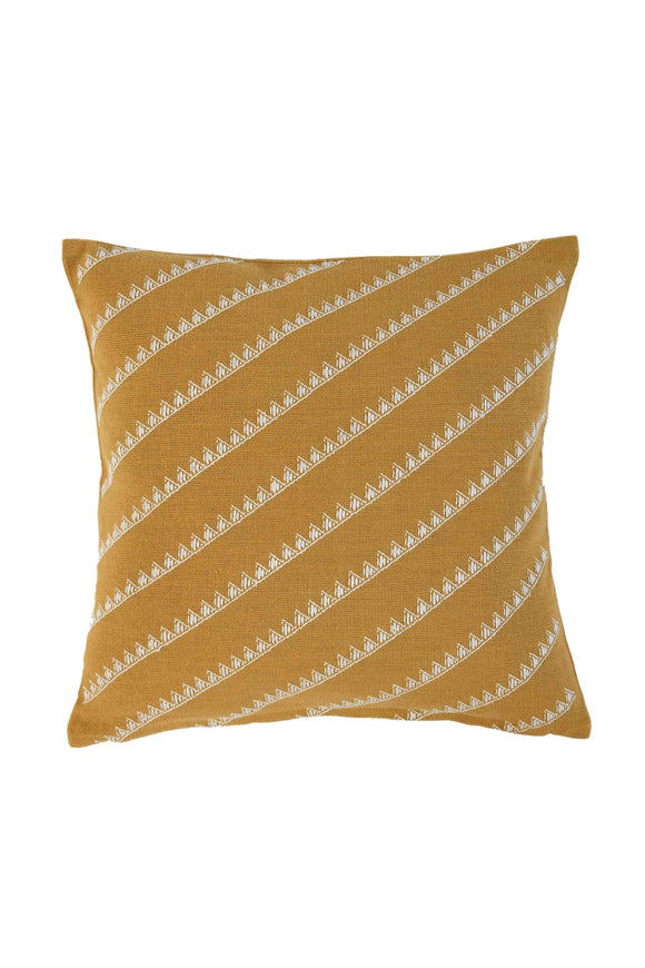 Mustard Yellow Extra Weft Hand Woven Cushion Cover