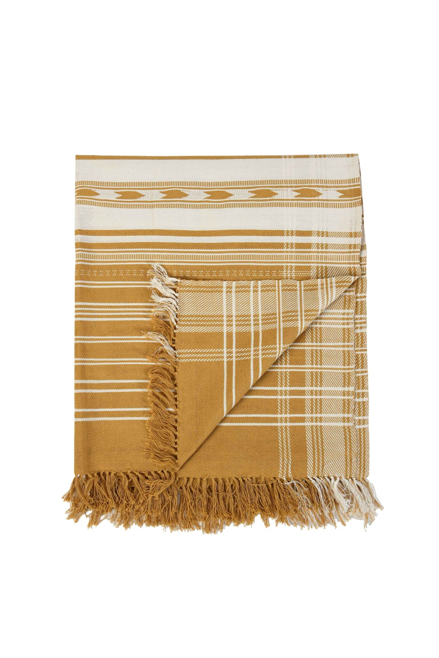 Mustard Yellow Extra Weft Woven Throw
