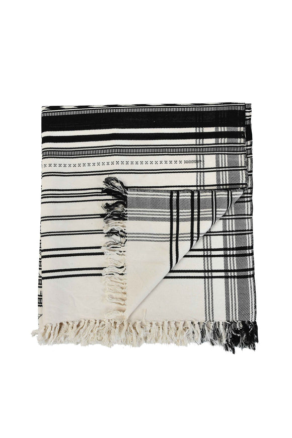 Black & White Extra Weft Woven Throw