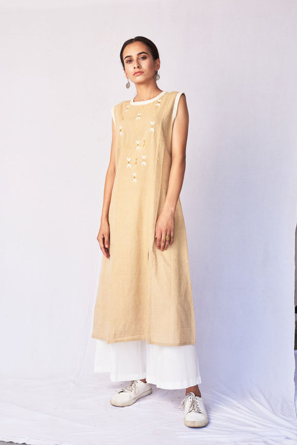 Beige Hand Embroidered Cotton A-Line Kurta