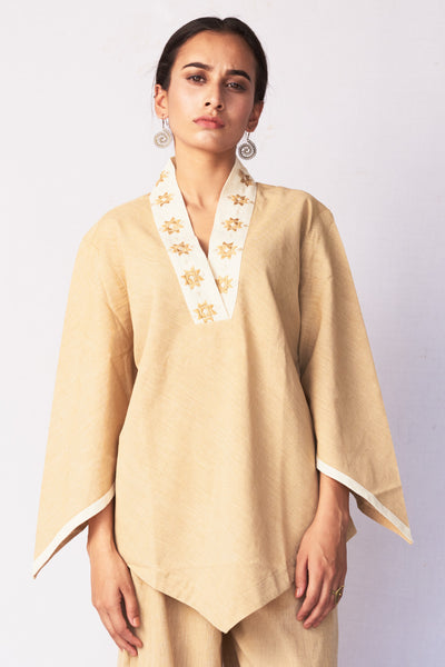 Beige Hand Embroidered Woven Top