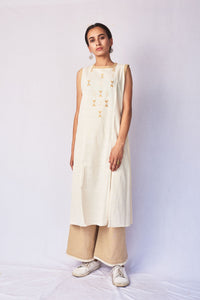 Natural White Hand Embroidered Woven A-Line Kurta