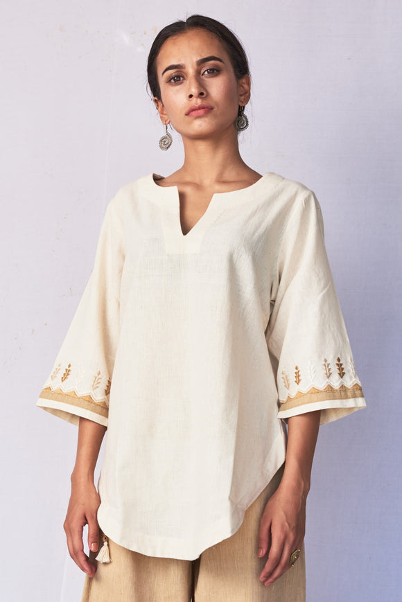 Ivory Hand Embroidered Woven Top