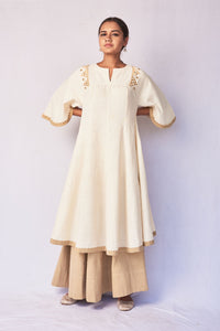 Natural White Hand Embroidered Woven Anarkali