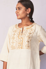 Load image into Gallery viewer, Natural White Hand Embroidered Woven Long Kurta