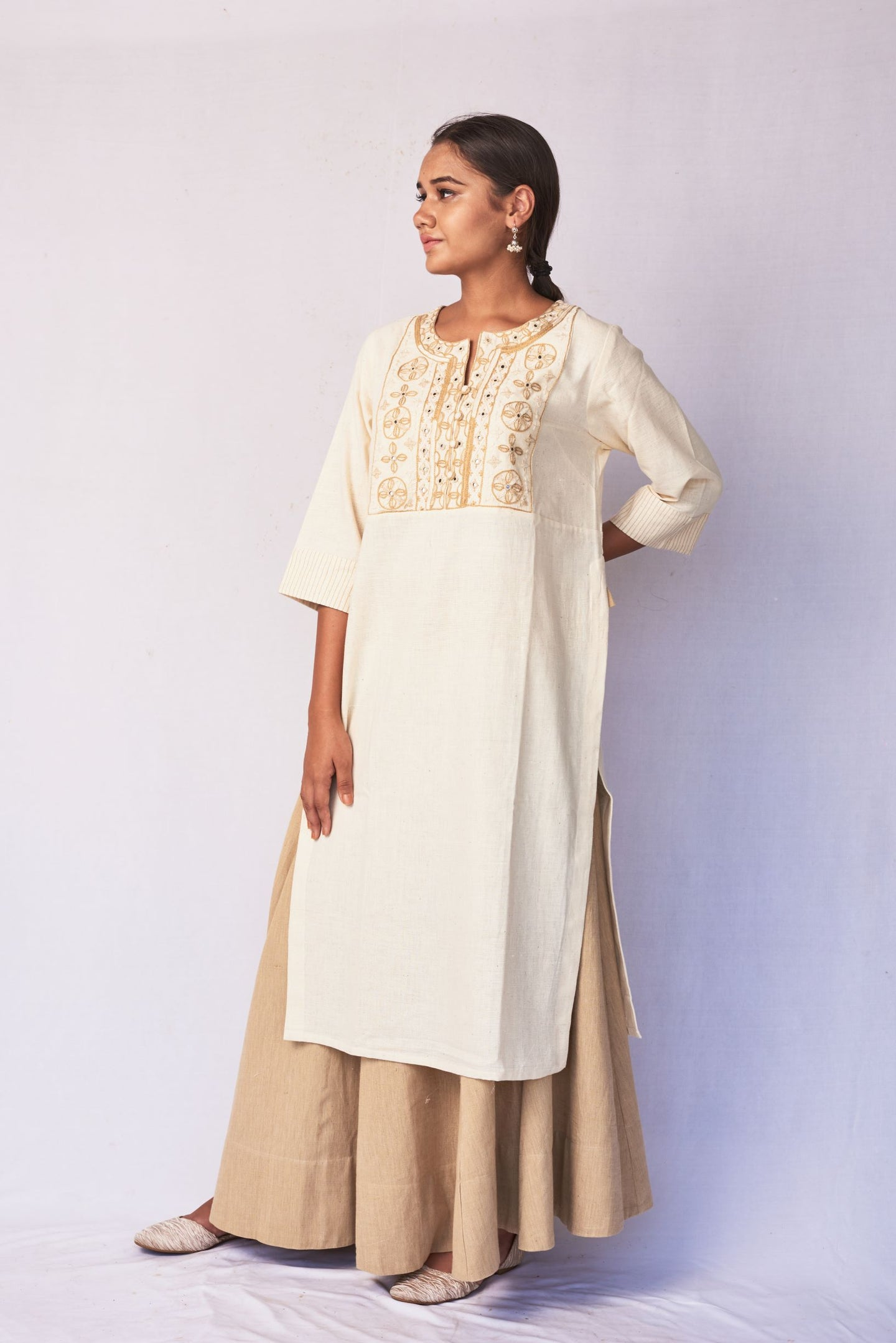Natural White Hand Embroidered Woven Long Kurta