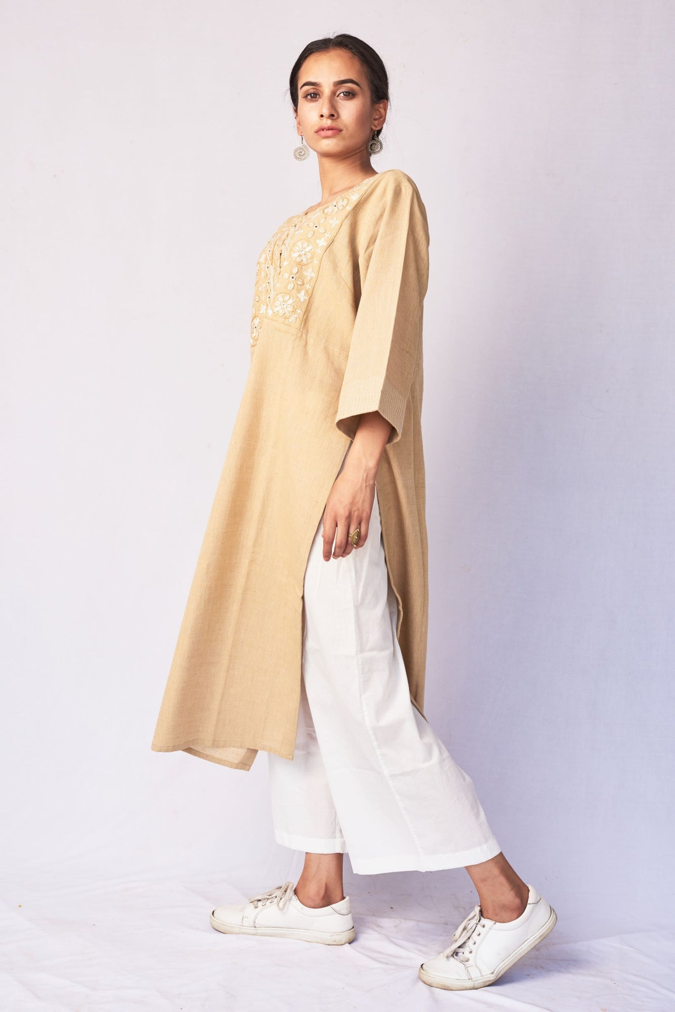 Beige Hand Embroidered Woven Long Kurta