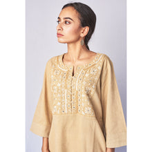 Load image into Gallery viewer, Beige Hand Embroidered Woven Long Kurta