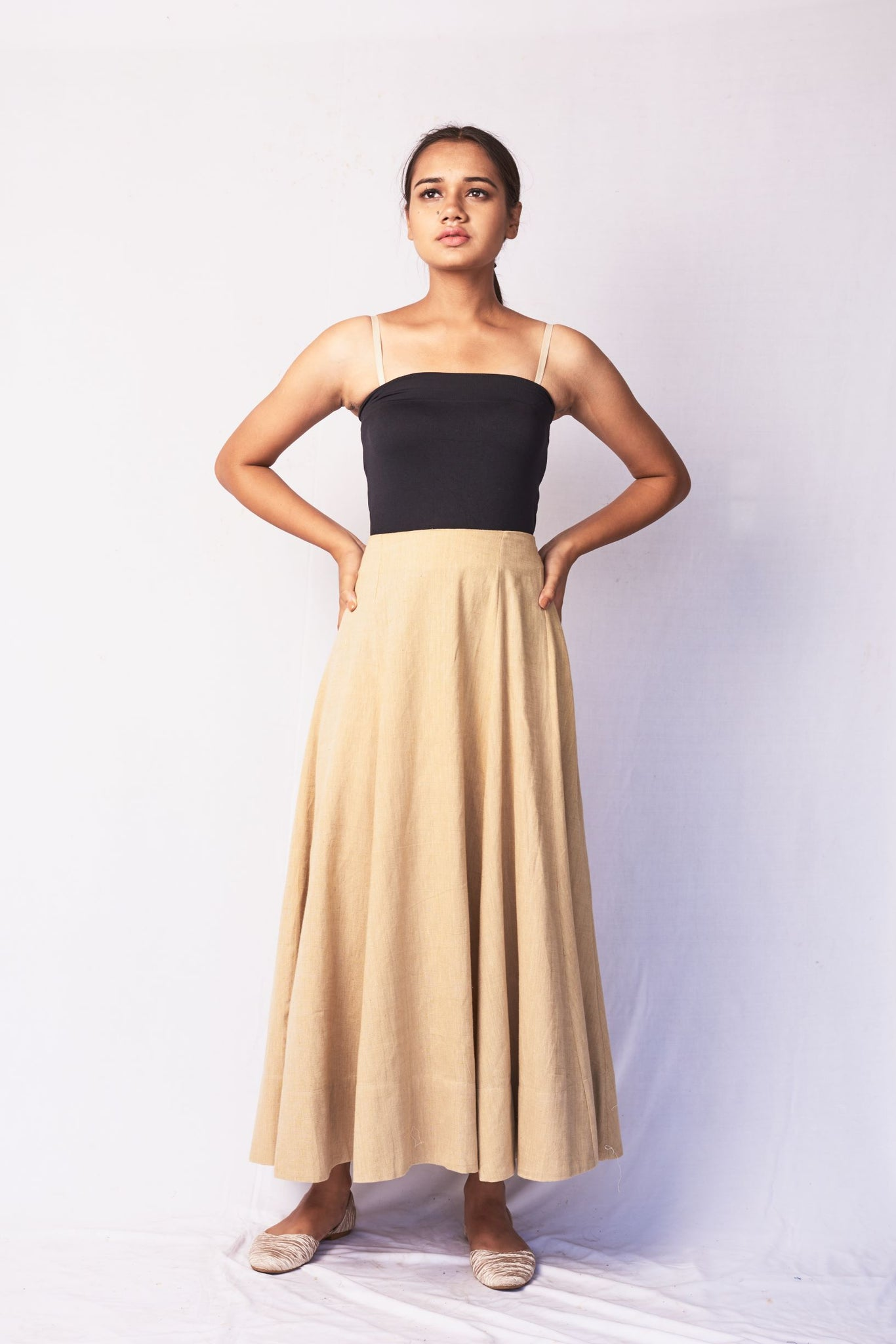 Beige Hand Woven Cotton Skirt
