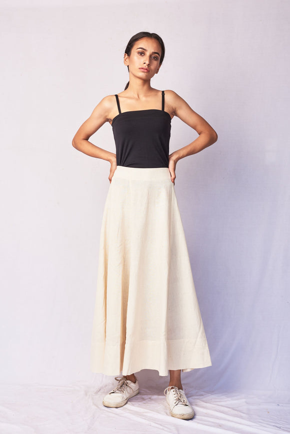 Ivory Hand Woven Cotton Skirt