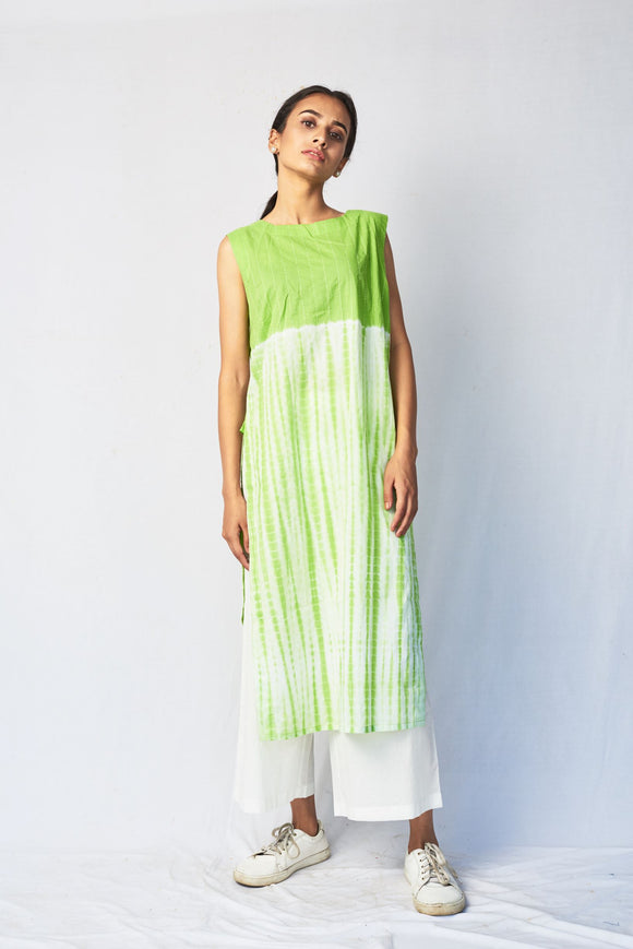Green Shibori Embroidered Cotton Long Kurta
