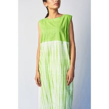 Load image into Gallery viewer, Green Shibori Embroidered Cotton Long Kurta
