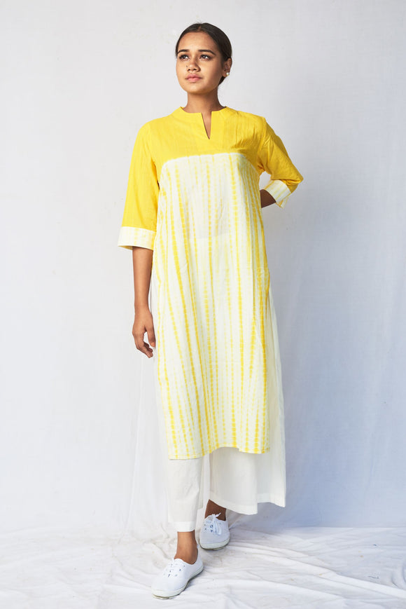 Yellow Shibori Straight Cotton Kurta