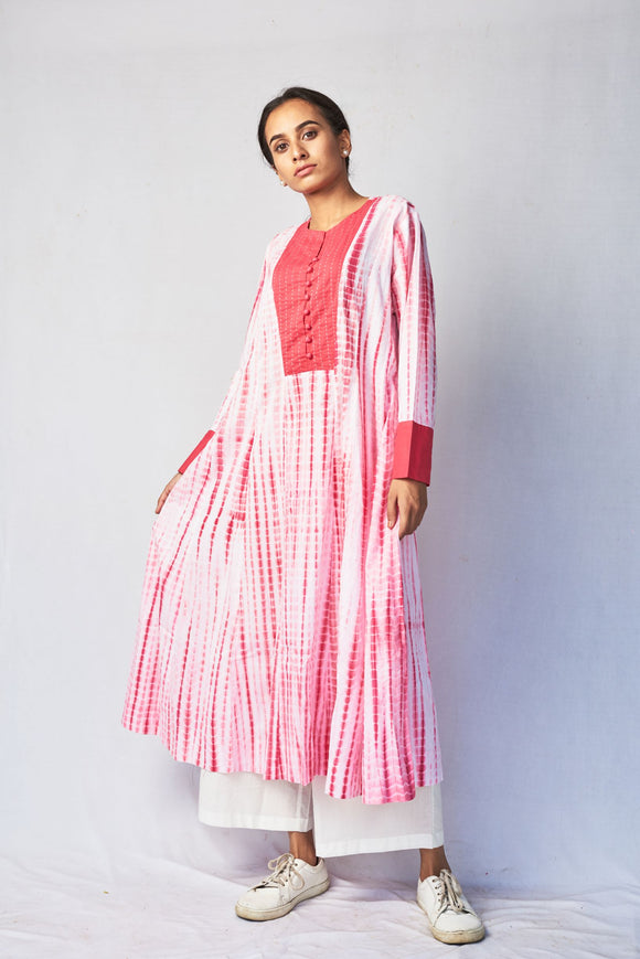Pink Shibori Embroidered Cotton Anarkali