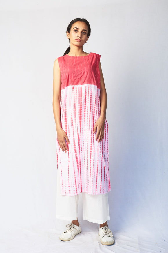 Pink Shibori Embroidered Cotton Long Kurta