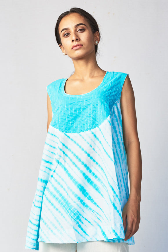 Blue Shibori Cotton Top