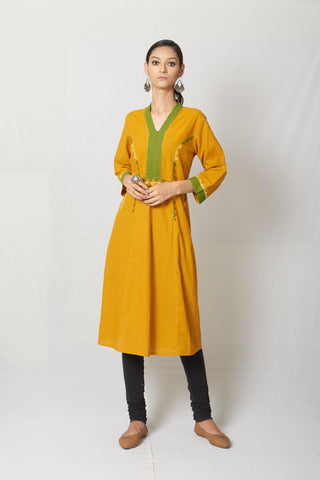 Mustard Yellow Hand Embroidered Cotton Anarkali