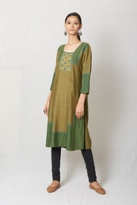 Green Hand Embroidered Tussar Cotton Silk Kurta