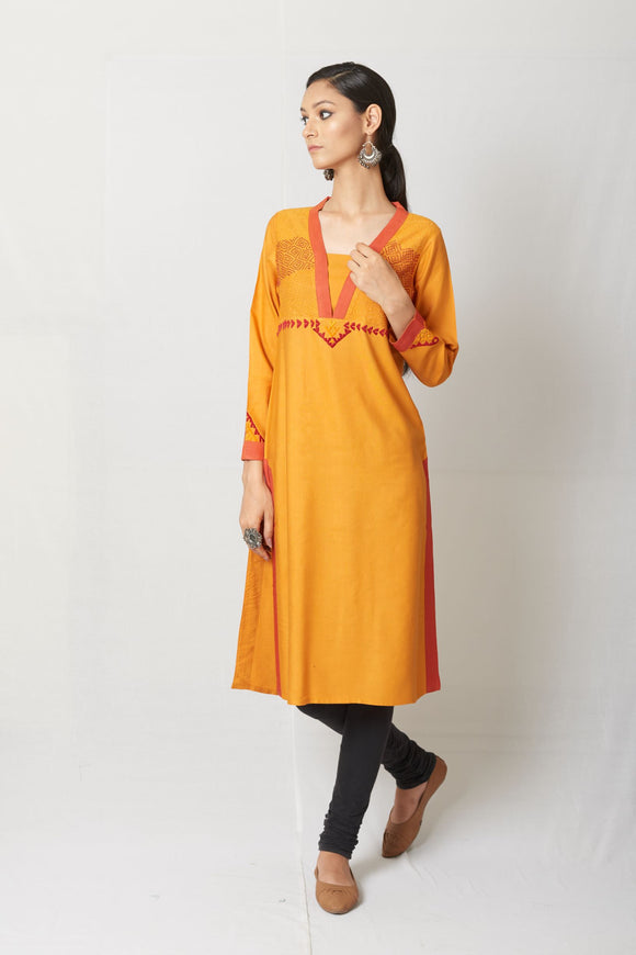 Yellow Hand Embroidered Tussar Cotton Silk Kurta